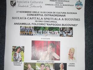 """Concert extraordinar """"Suceava – capitala spirituală a Bucovinei"""", la Casa de Cultură"""