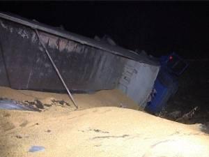 Un camion încărcat cu peste 20 de tone de porumb s-a răsturnat, ieri seară, pe E 85, la intrarea în municipiul Fălticeni dinspre Buneşti
