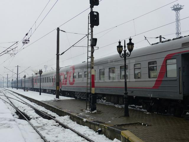 Trenul Sofia-Moscova, ieri, la una din ultimele sosiri in Gara Suceava