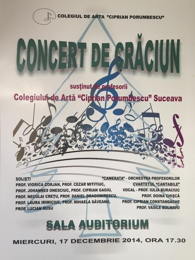 """Concert de Crăciun, oferit de profesori ai Colegiului """"Ciprian Porumbescu"""""""