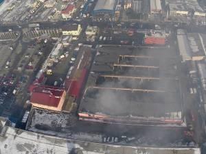 """Cum arată centrul comercial """"Rozita"""", după incendiu. Filmare aeriană"""