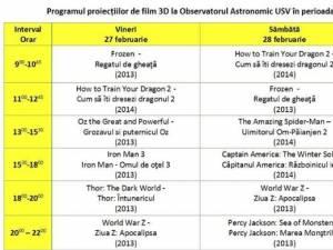Filme 3D, în acest weekend, la Observatorul Astronomic Suceava