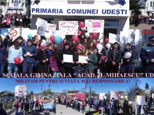Marş pentru prevenirea violenţei şi a consumului de droguri, la şcoala din Udeşti