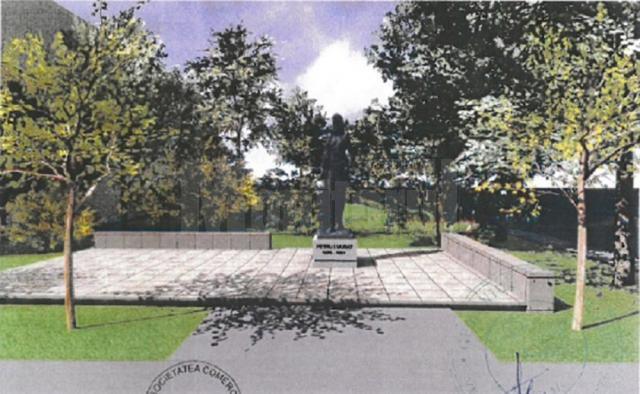 Schiţa cu scuarul în care va fi amplasată statuia domnitorului Petru Muşat