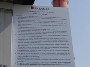 Regulamentul  intern de funcţionare a parcării aferente complexului comercial a fost introdus la Iulius Mall Suceava din luna martie a acestui an