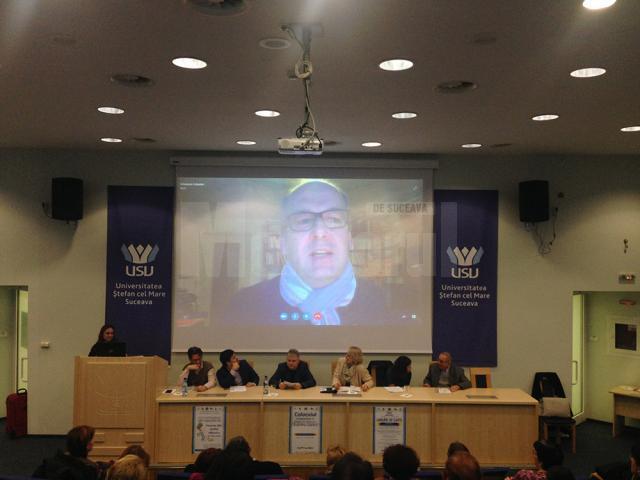 Prof. Johannes Kabatek, prin Skype, de la Tubingen, la CISL Suceava