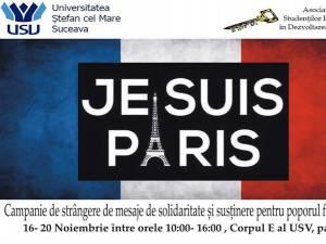 """""""Je suis Paris"""" - campanie de strângere de mesaje de solidaritate şi susţinere pentru poporul francez"""