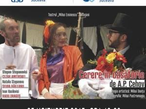 """Spectacolul de teatru """"Cerere în căsătorie"""" de Cehov, la USV"""