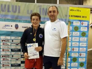 Călin, alături de tatăl și antrenorul său, Cezar Moscaliuc