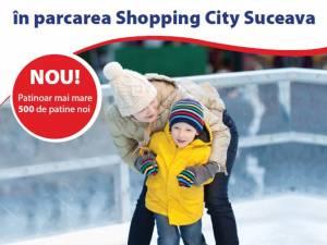 Distracție pe gheață, la patinoarul din parcarea Shopping City Suceava