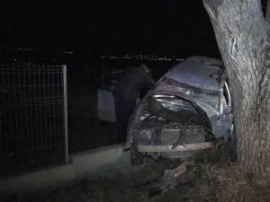 Maşina a intrat cu viteză în copac şi apoi în gardul de la marginea drumului