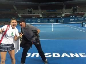 Simona Halep, alături de antrenorul Darren Cahill