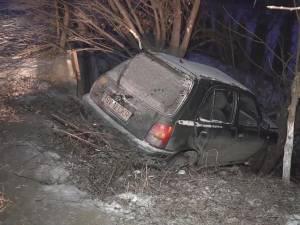Autoturismul Nissan Micra s-a izbit în doi copaci aflaţi la marginea drumului