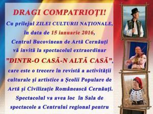 """Manifestări culturale prilejuite de Ziua Culturii Naţionale şi Zilele """"Mihai Eminescu"""""""