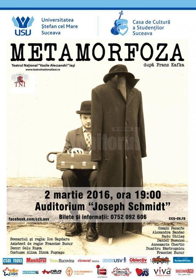 """Teatrul Național Iași aduce la USV spectacolul """"Metamorfoza"""""""