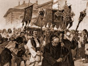 Sânziene, la Suceava – desen de Julius Zalaty Zuber (1867-1918)
