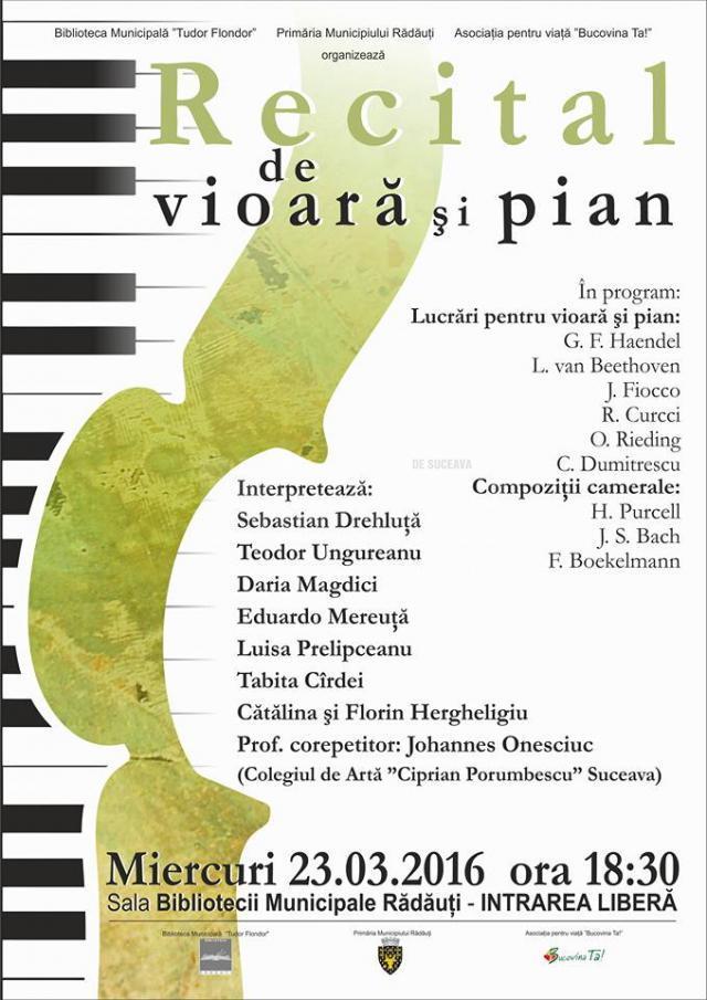 Recital de vioară şi pian, la Rădăuţi