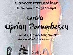 "Concert extraordinar al Coralei ""Ciprian Porumbescu"", la biserica ""Sf. Vineri"""