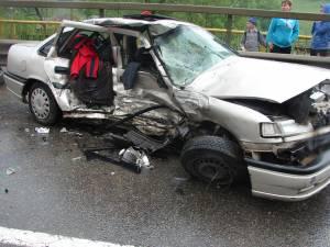 Şansa conducătoarei auto a fost că impactul nu a fost frontal