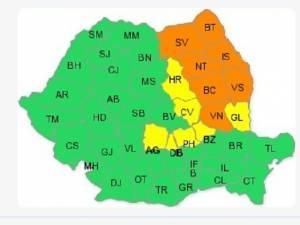 Cod portocaliu de ploi torențiale în Suceava și alte șase județe
