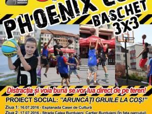 Phoenix Cup - Baschet 3 x 3, competiţie sportivă în centrul municipiului Suceava şi în Burdujeni