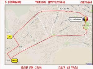 Traseul protestului de vineri din Suceava
