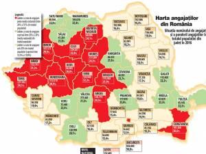 Harta angajaţilor din România, pe judeţe. Foto: Ziarul Financiar