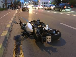Motocicleta a ajuns la mai bine de 50 de metri de intersecţie