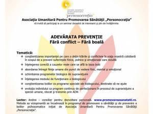 """""""Adevărata prevenție: Fără conflict - Fără boală"""""""