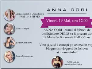 COFFEE MEETING CU ANNA CORI VINERI, 19 MAI 2017 ÎN BUCUREŞTI MALL