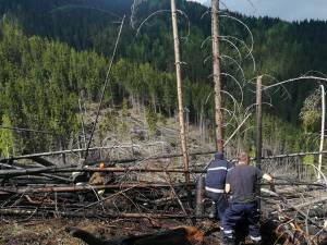 Intervenţia de stingere a fost foarte dificilă din cauza terenului accidentat și a zonei izolate