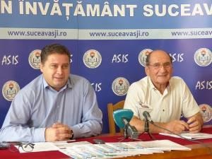 Prof. Giani Leonte, preşedintele ASIS, și prof. Dumitru Irimia, vicepreşedintele Alianţei