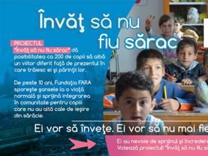 """Proiectul """"Învăţ să nu fiu sărac"""", iniţiat de FARA, pentru a sprijini 200 de copii săraci să meargă la şcoală"""