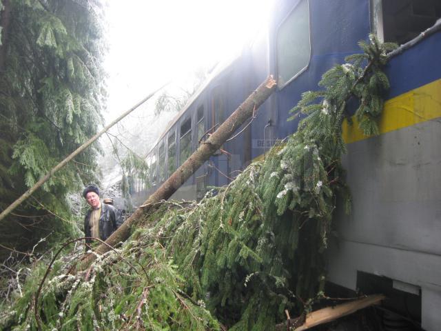 Traficul feroviar a fost întrerupt între Vatra Dornei și Bistrița