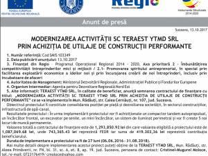 MODERNIZAREA ACTIVITĂȚII SC TERAEST YTMD SRL PRIN ACHIZIȚIA DE UTILAJE DE CONSTRUCȚII PERFORMANTE