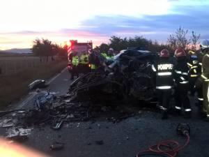 Accidentul s-a petrecut sâmbătă pe DN 2E, drumul care leagă Fălticeni de Gura Humorului, între Cornu Luncii şi Rădăşeni