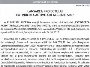 """LANSAREA PROIECTULUI, """"EXTINDEREA ACTIVITATII ALCLINIC SRL"""""""