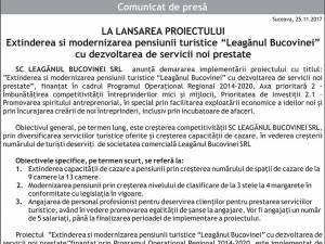 """Extinderea si modernizarea pensiunii turistice """"Leagănul Bucovinei"""" cu dezvoltarea de servicii noi prestate"""