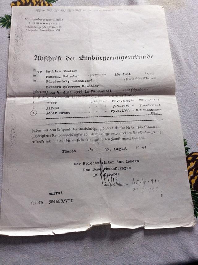 Document emis în 1941 cu numele celor trei copii Peter, Alfred şi Adolf Ernst
