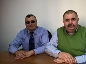 Liderii de sindicat Vasile Grumăzescu și Constantin Mandache