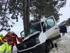 Impactul violent cu copacul de la marginea drumului