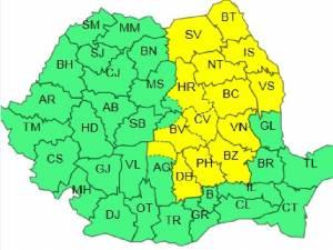Harta judetelor afectate de atentionarea meteo