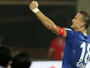 Lucian Goian a înscris golul victoriei pentru echipa sa în ultimul meci din campionatul Indiei. Foto telekomsport.ro