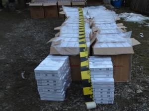 Țigările de contrabandă găsite în gospodăria lui Grigore Timiş