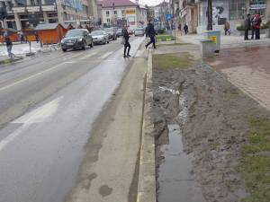 Spațiu verde distrus de mașini parcate pe el, dar și de pietoni