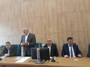 Sorin Ciobanu, Nicolae Țucunel, Ilie Covrig și Emanuel Havrici, la Adunarea Generală a Asociației Forestierilor din România (de la stânga la dreapta)