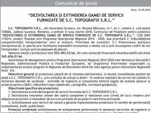 """""""DEZVOLTAREA ȘI EXTINDEREA GAMEI DE SERVICII FURNIZATE DE S.C. TOPOGRAFIX S.R.L."""""""