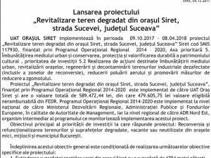 """Lansarea proiectului """"Revitalizare teren degradat din orașul Siret, strada Sucevei, județul Suceava"""""""
