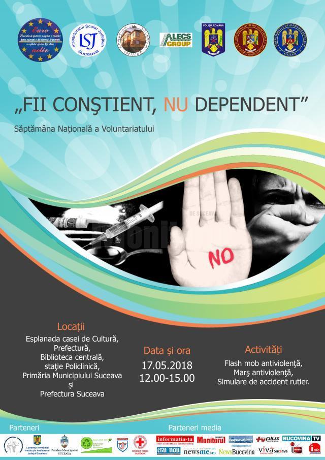 Marş Antiviolenţă, Antidrog, Antitutun şi de prevenire a accidentelor rutiere, joi, în municipiul Suceava