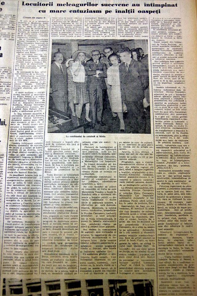 Ziarul Zori Noi în care este descrisă vizita celor doi şefi de stat în judeţul Suceava